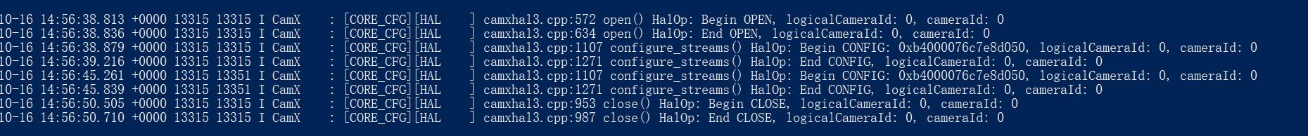 Camx查看上层调用HAL API和时长