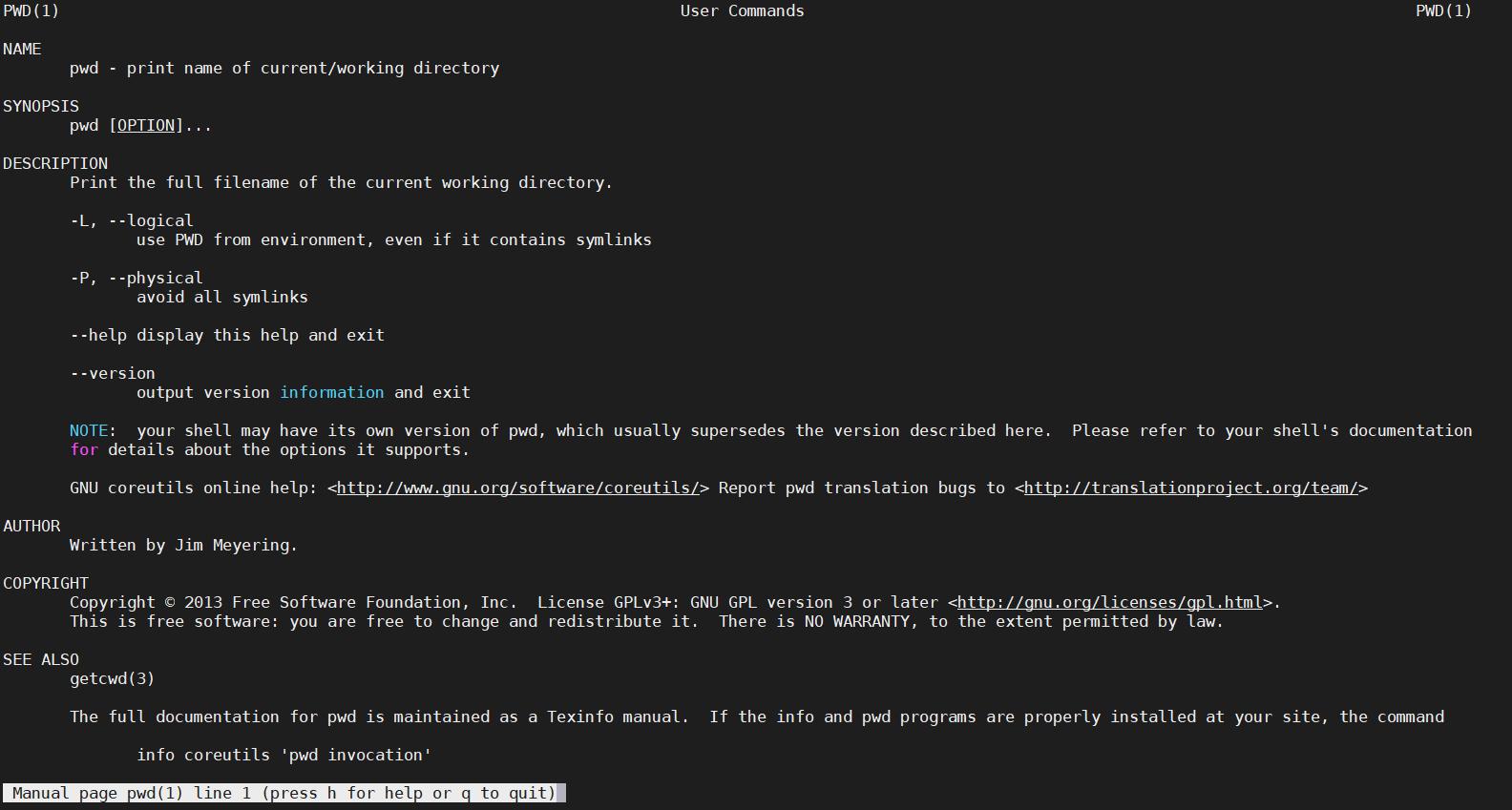 显示pwd命令的man手册页